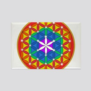 Flower of Life Chakra Sparkle Rectangle Magnet