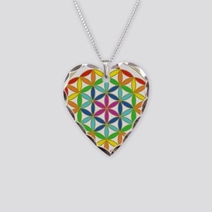 Flower of Life Chakra Necklace Heart Charm