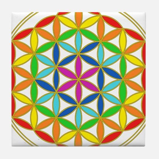 Flower of Life Chakra Tile Coaster