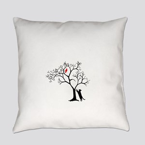 Red Cardinal in Tree with Cat Everyday Pillow