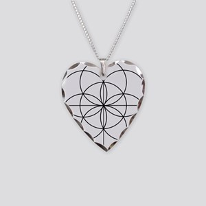 Seed of Life 2 Lines Necklace Heart Charm