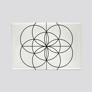 Seed of Life 2 Lines Rectangle Magnet