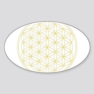 Flower of Life Gold Line Sticker (Oval)