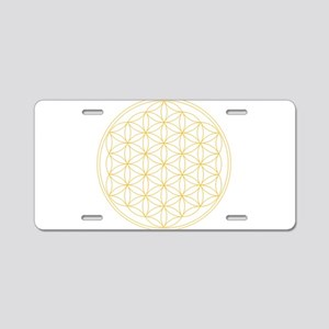 Flower of Life Gold Line Aluminum License Plate