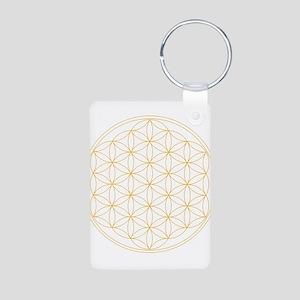 Flower of Life Gold Line Aluminum Photo Keychain