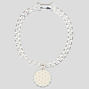 Flower of Life Gold Line Charm Bracelet, One Charm
