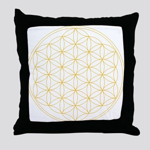 Flower of Life Gold Line Throw Pillow