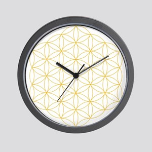 Flower of Life Gold Line Wall Clock
