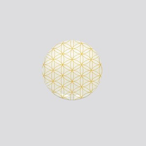 Flower of Life Gold Line Mini Button