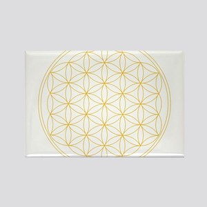 Flower of Life Gold Line Rectangle Magnet