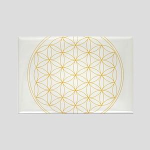 Flower of Life Gold Line Rectangle Magnet