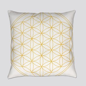 Flower of Life Gold Line Everyday Pillow
