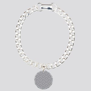 Flower of Life Single White Charm Bracelet, One Ch