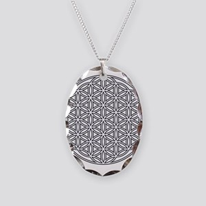 Flower of Life Single White Necklace Oval Charm