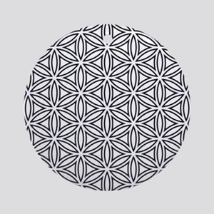 Flower of Life Single White Round Ornament