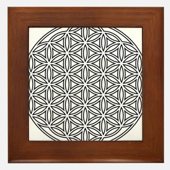 Flower of Life Single White Framed Tile