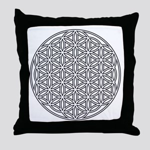 Flower of Life Single White Throw Pillow