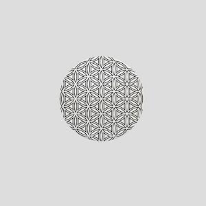 Flower of Life Single White Mini Button