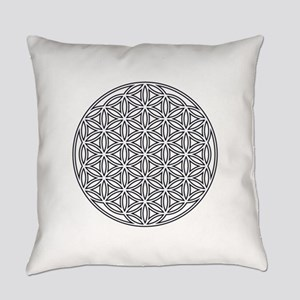 Flower of Life Single White Everyday Pillow