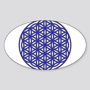 Flower of Life Single Blue Sticker (Oval)