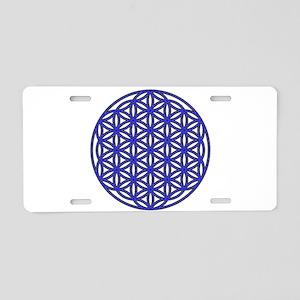 Flower of Life Single Blue Aluminum License Plate