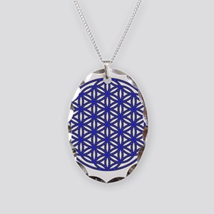 Flower of Life Single Blue Necklace Oval Charm
