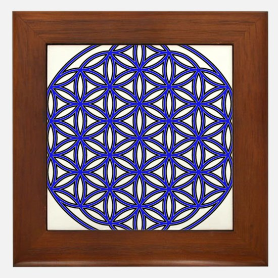 Flower of Life Single Blue Framed Tile