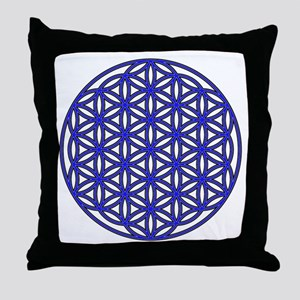 Flower of Life Single Blue Throw Pillow