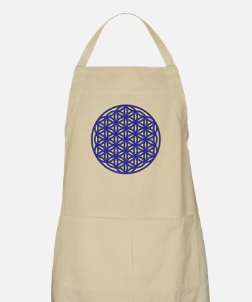 Flower of Life Single Blue Apron