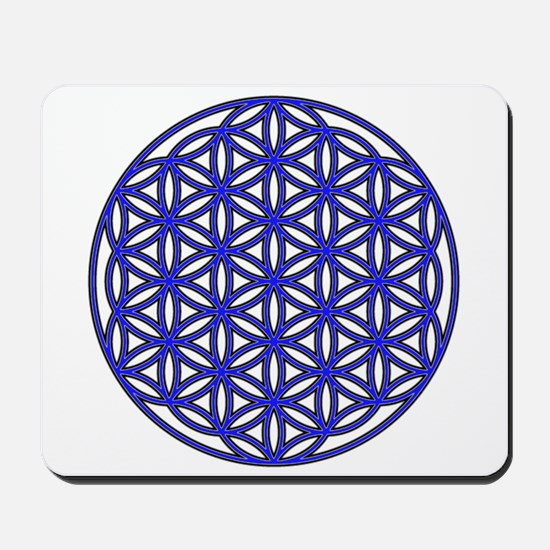 Flower of Life Single Blue Mousepad