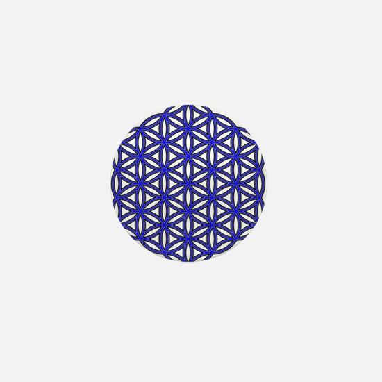 Flower of Life Single Blue Mini Button