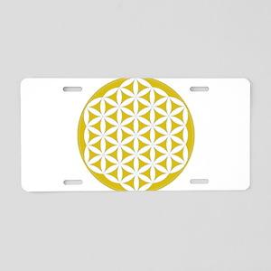 flower of life gold Aluminum License Plate