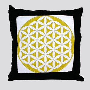 flower of life gold Throw Pillow