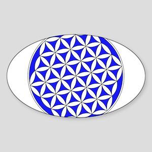 Flower of Life Blue Sticker (Oval)