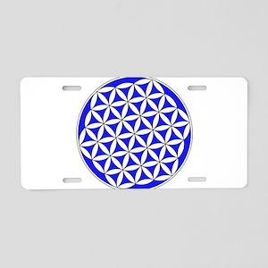Flower of Life Blue Aluminum License Plate
