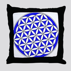 Flower of Life Blue Throw Pillow