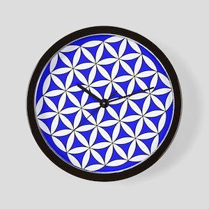 Flower of Life Blue Wall Clock