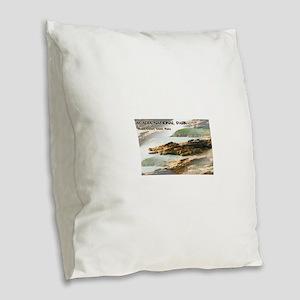 Acadia National Park Coastline Burlap Throw Pillow