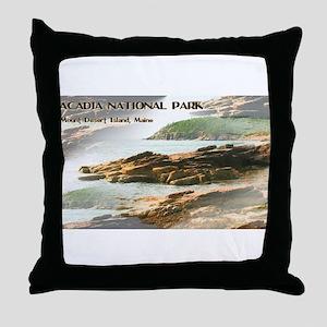 Acadia National Park Coastline Throw Pillow