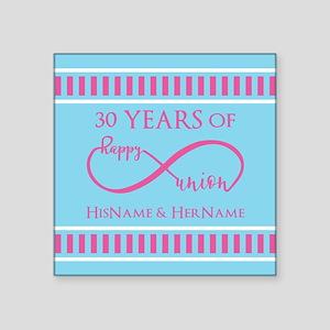 "Wedding Anniversary Infinit Square Sticker 3"" x 3"""