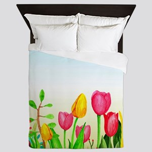design 16 tulips Queen Duvet