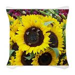Bee Dance On A Sunflower Day Woven Throw Pillow