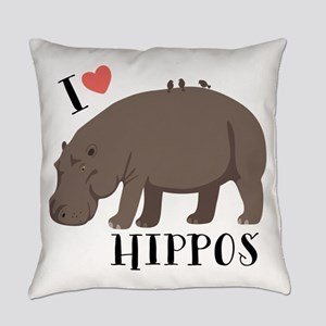 I Love Hippos Everyday Pillow