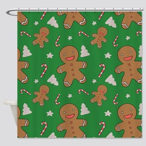 Gingerbread Men And Candy Canes Shower Curtain