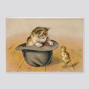 Cat and Chick Vintage Poster 5'x7'Area Rug