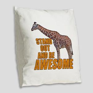 Stand Tall Giraffe Burlap Throw Pillow