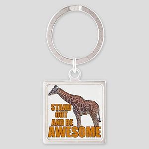 Stand Tall Giraffe Square Keychain