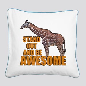 Stand Tall Giraffe Square Canvas Pillow