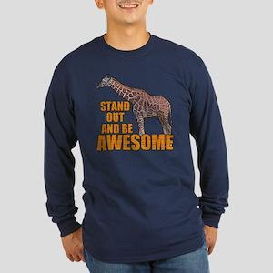 Stand Tall Giraffe Long Sleeve Dark T-Shirt
