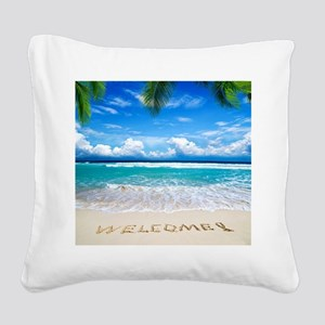 Welcome Summer Square Canvas Pillow